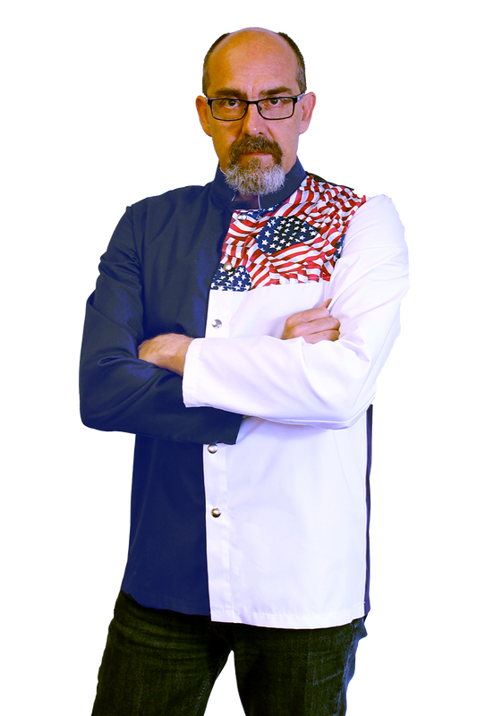 Tri-Color Chef Coat in Black, Old Glory, and White