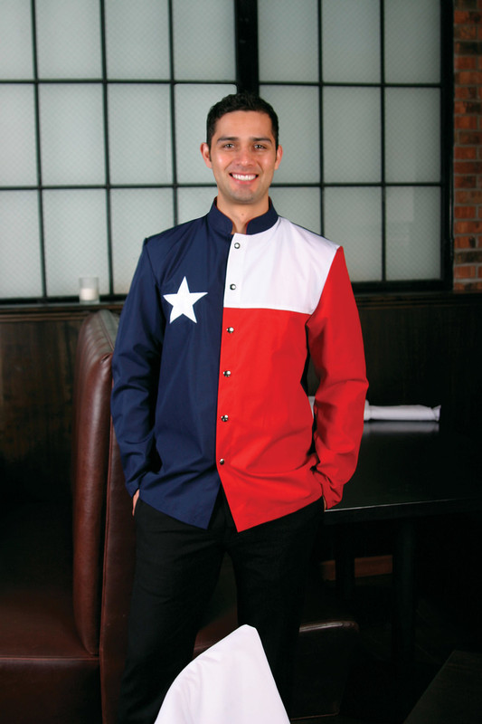 Lone Star Chef Coat in Navy, White, and Bright Red