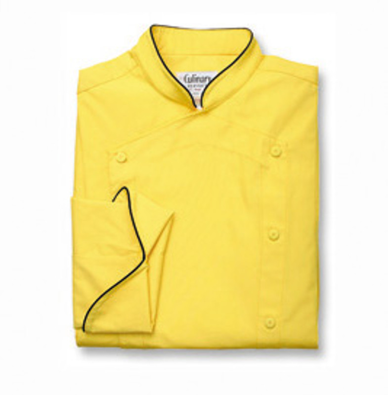Venetian Chef Coat in Chrome Yellow Poplin with Black Cording