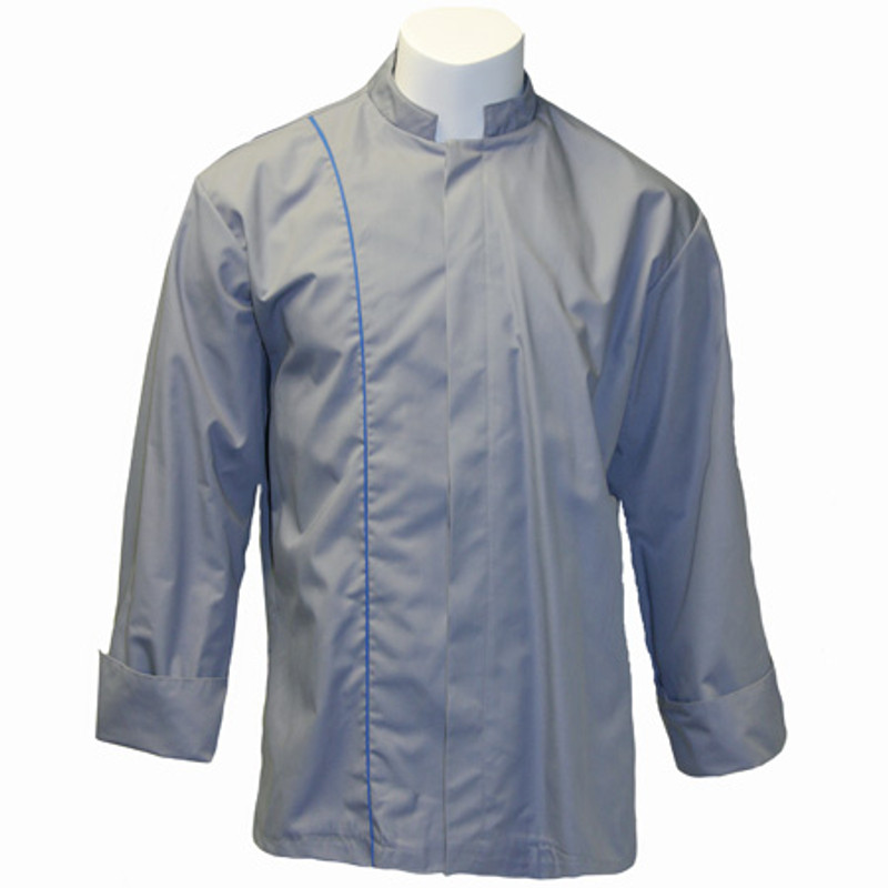 Vanguard Chef Coat in Graphite with Cobalt Cording