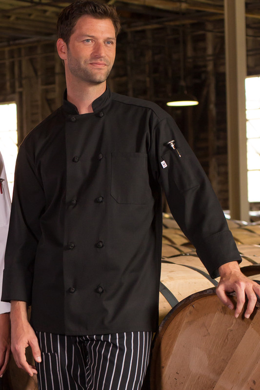 Entree Chef Coat with Knot Buttons in Black