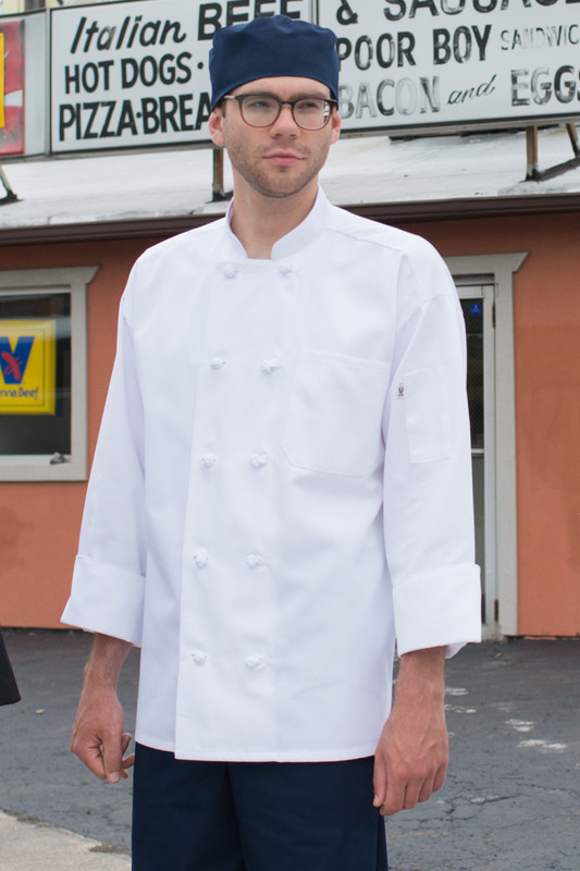 Entree Chef Coat with Knot Buttons in White