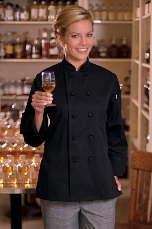 Sedona Knot Button Chef Coat in Black