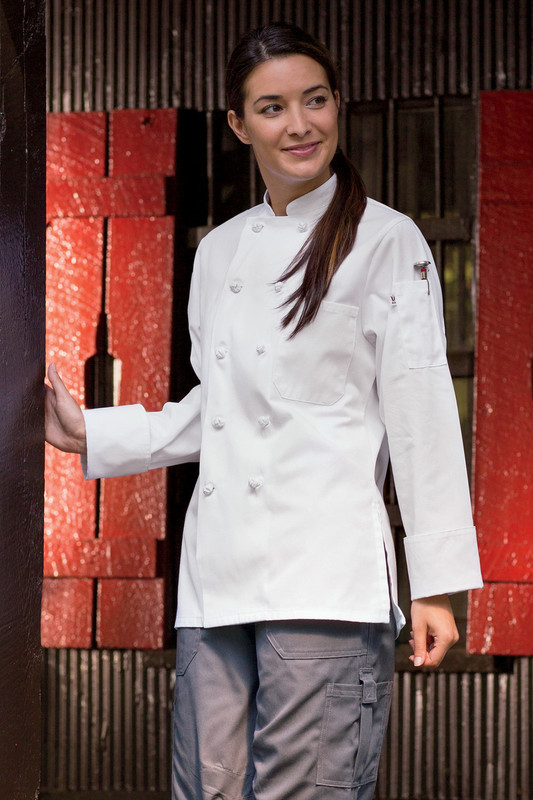 Sedona Knot Button Chef Coat in White