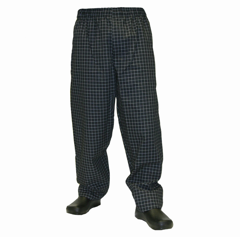 Baggy Chef Pants in Black and White Grid/Window Pane