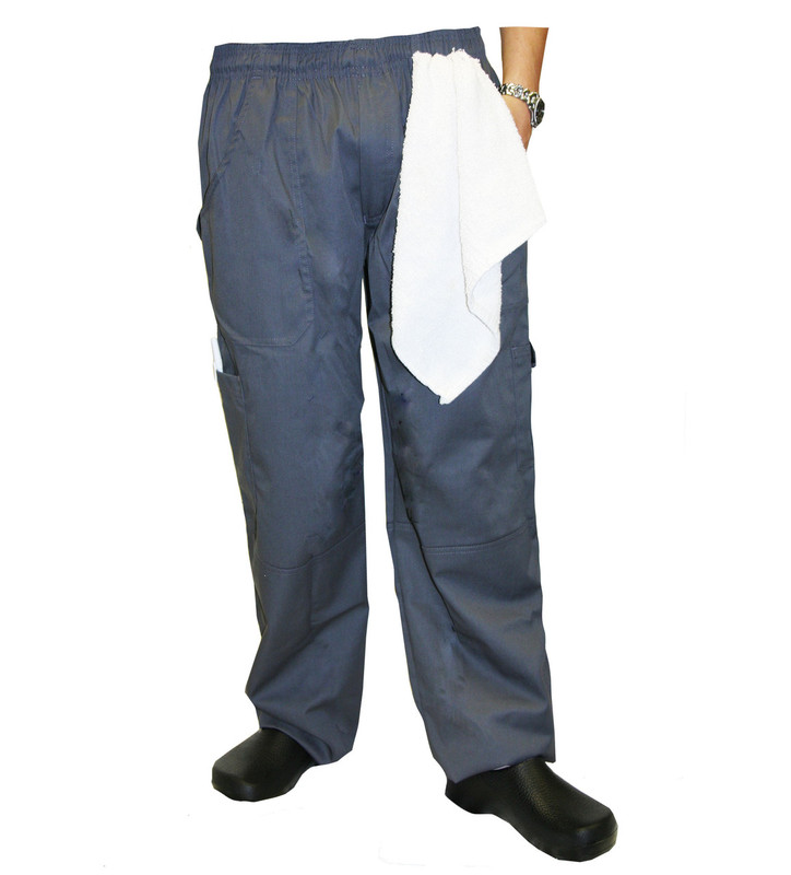 Grunge Cargo Chef Pants in Slate