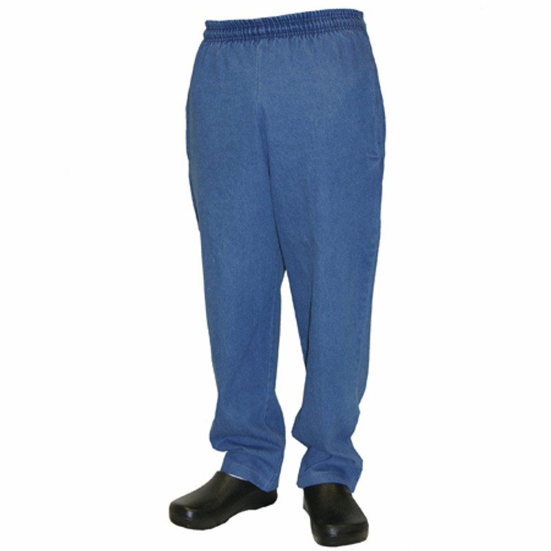 Classic Chef Pants in 100% Cotton Blue Denim