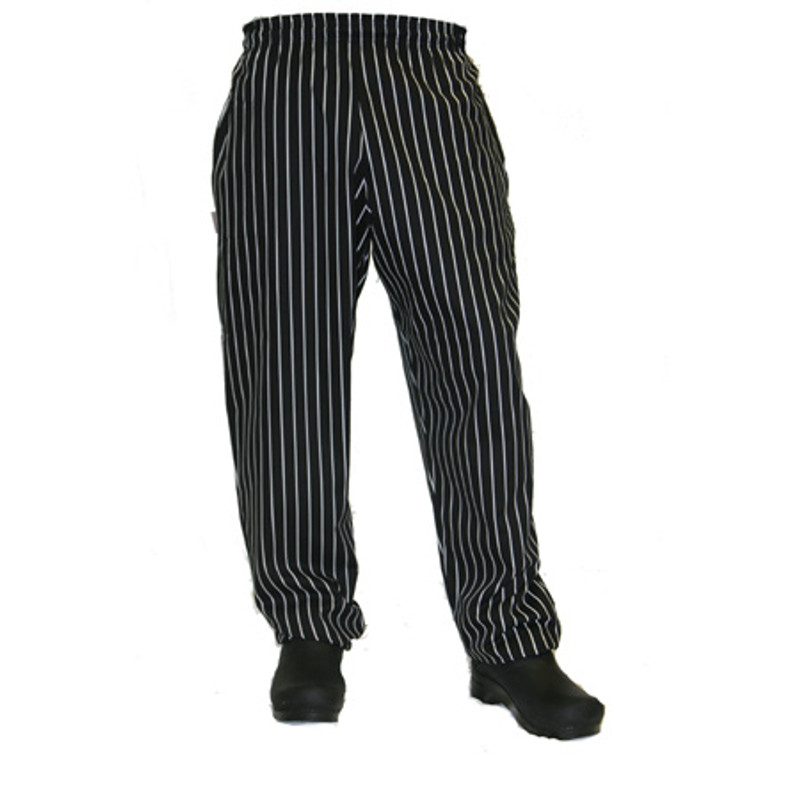 Baggy Chef Pants in Black and White Chalk Stripe