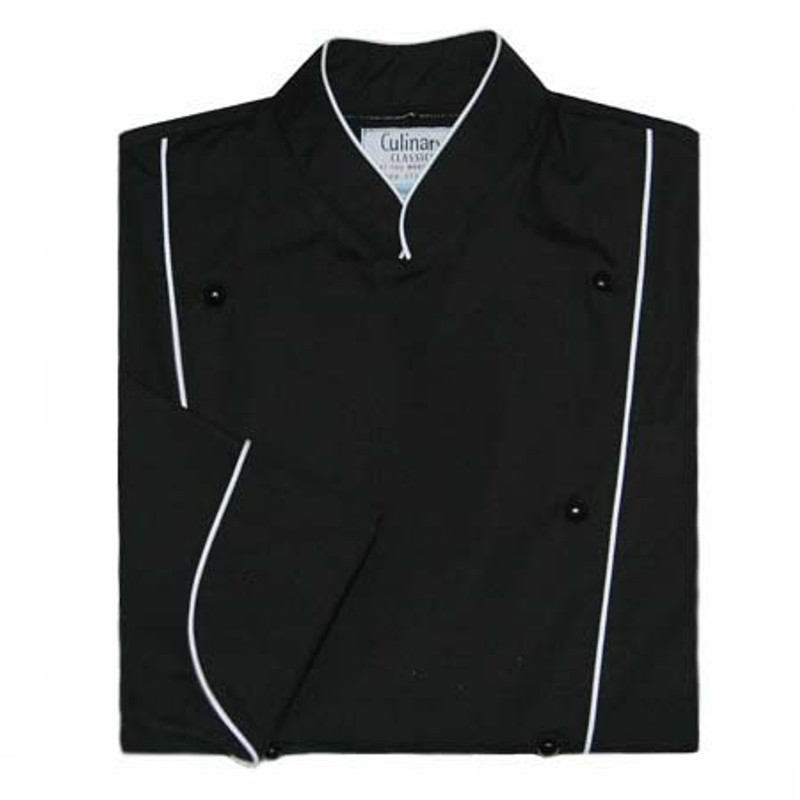 Corded Chef Coat in Black Poplin with White Cording