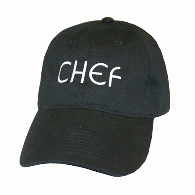 Baseball Cap in Black with matching fabric closure and CHEF embroidery