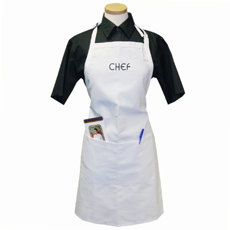 Standard Chef Apron in White with CHEF embroidery