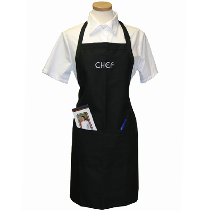 Standard Chef Apron in Black with CHEF embroidery