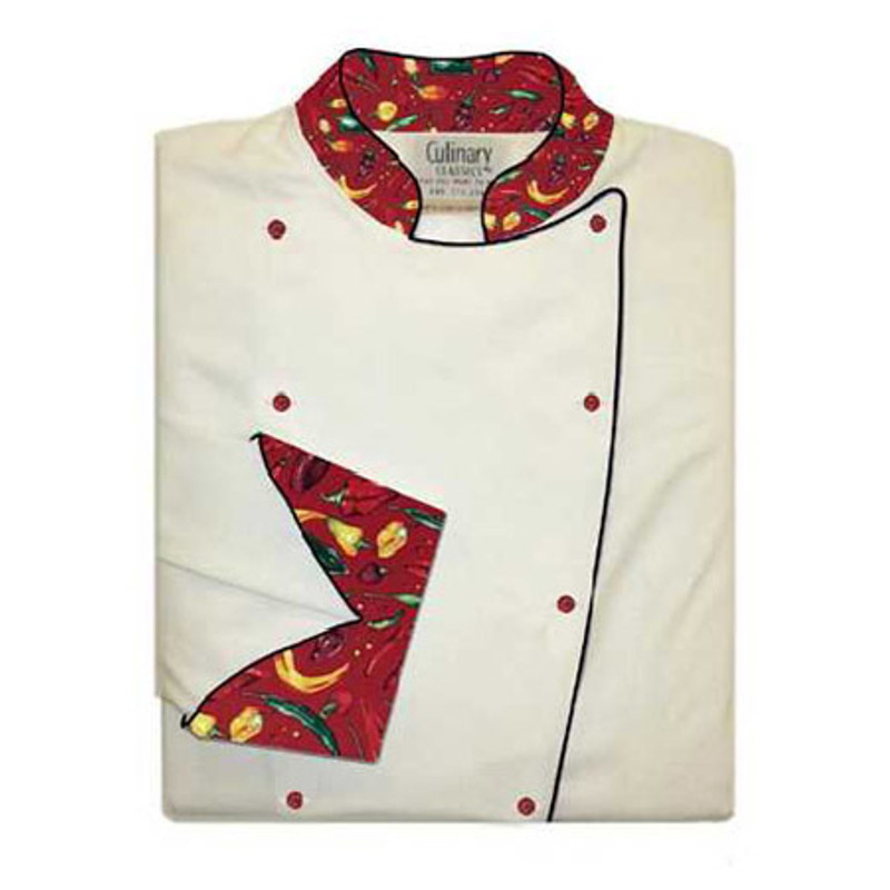 Traditional Chef Coat in White Spun Poly with Red Peco Peppers Conversion