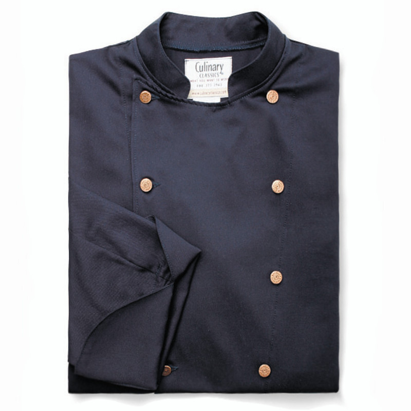 Traditional Chef Coat in Navy with Copper Closures