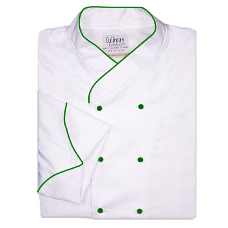 Imperial Chef Coat in White with Green Accents