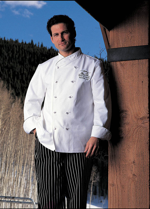 Imperial Chef Coat in White with Black Cording