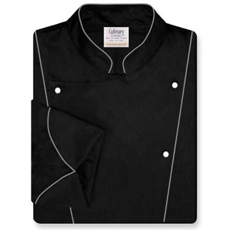Corded Chef Coat in Black Egyptian Cotton with Grey Accents