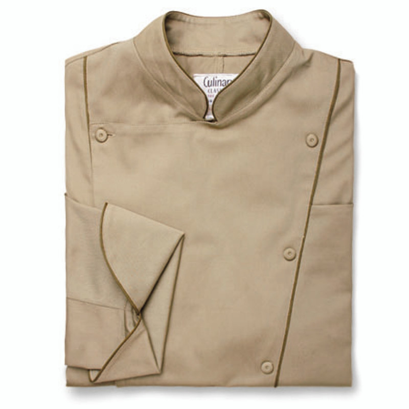 Corded Chef Coat in Khaki with OD Green Cording