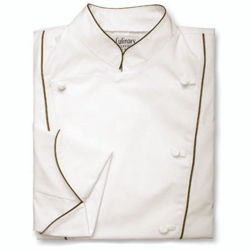 Corded Chef Coat in White Poplin with OD Green Cording
