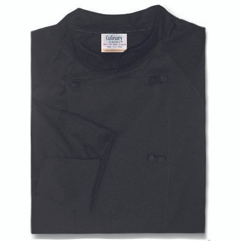 Raglan Chef Coat in Black with Knot Buttons