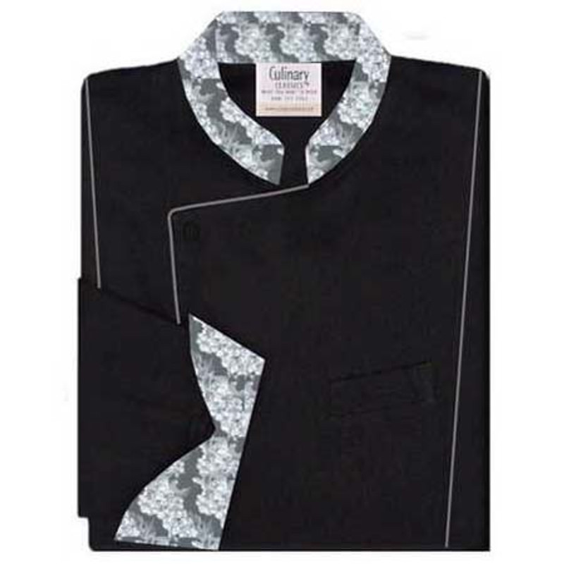 Milan Chef Coat in Black with Grey Classic Vineyard Accents
