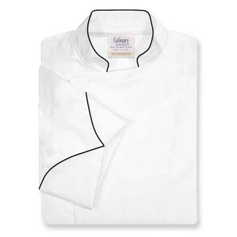 Epicurean Chef Coat in White Egyptian Cotton with Black Accents
