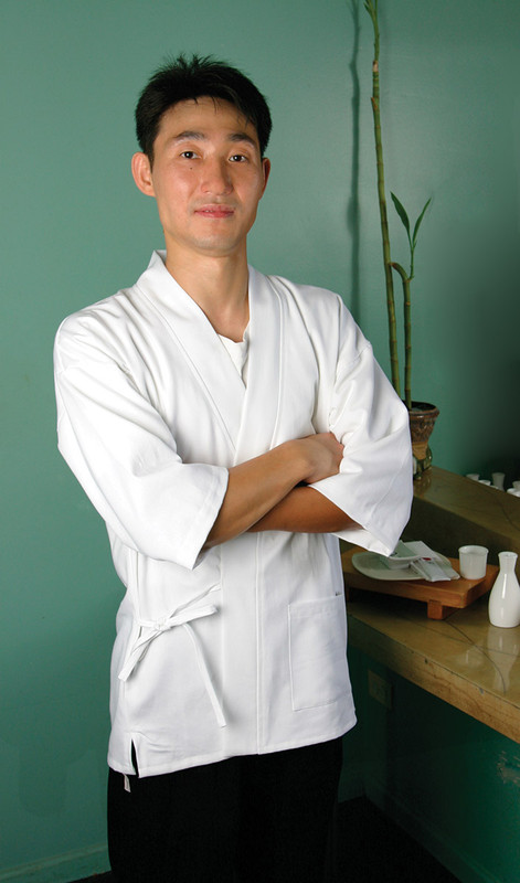 Sushi Chef Coat in White Fineline Twill