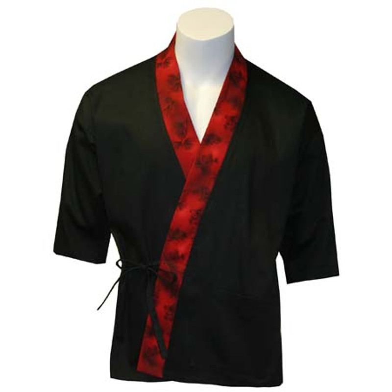 Sushi Chef Coat in Black with Forest Red Trim