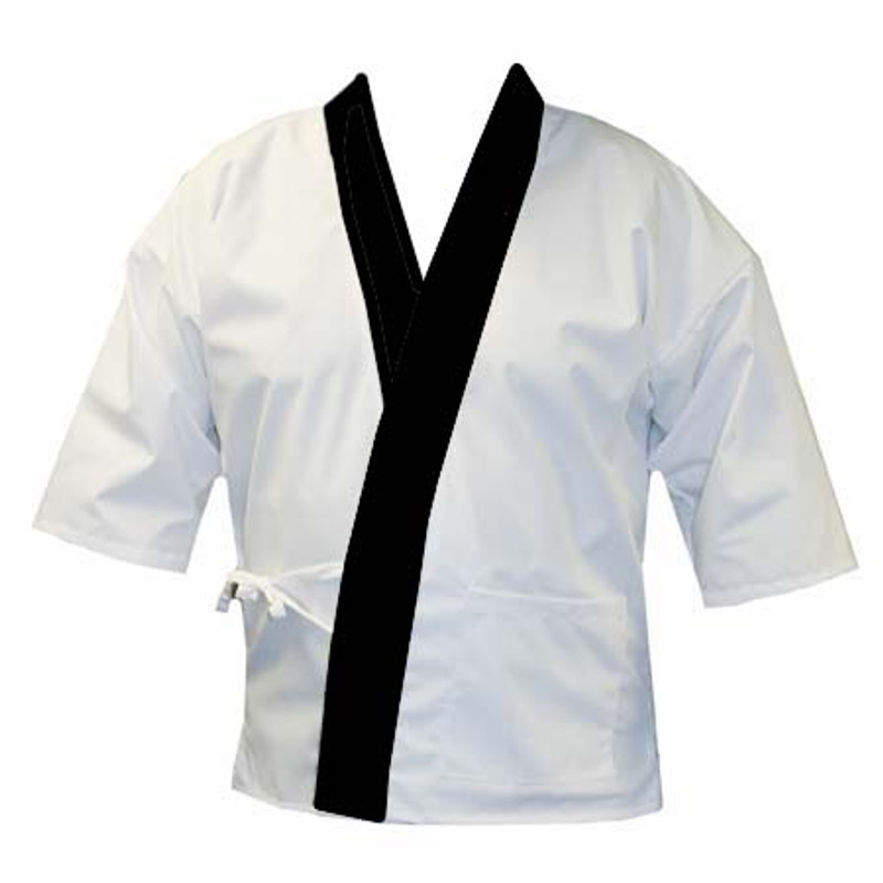Sushi Chef Coat in White with Black Trim