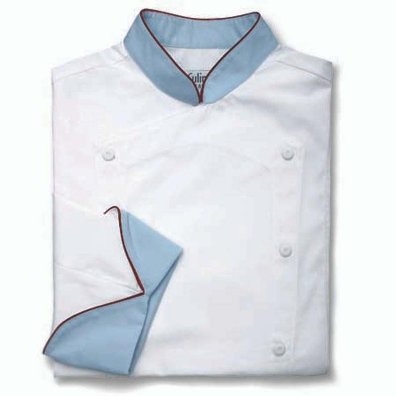 Venetian Chef Coat in White with Petrol Blue Conversions