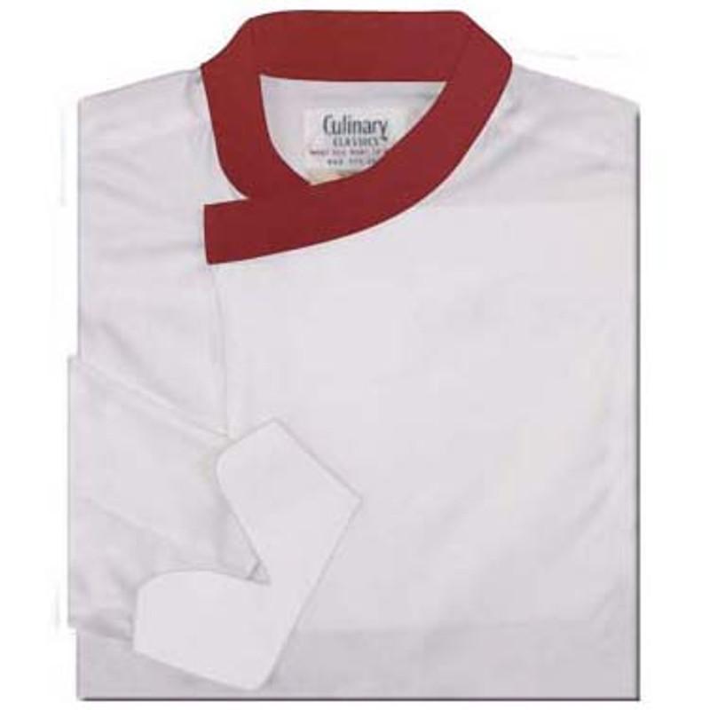 Tunic Chef Coat in White Poplin with Burgundy Collar