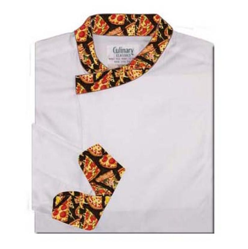 Tunic Chef Coat in White Poplin with Pizza Cuffs and Collar