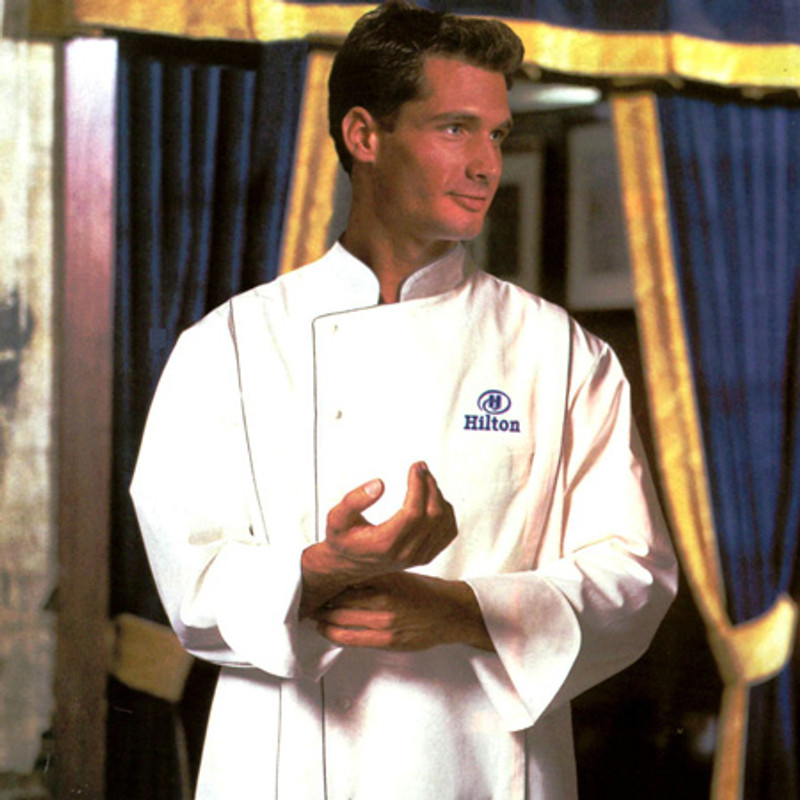 Milan Chef Coat in White Egyptian Cotton with Gray Cording