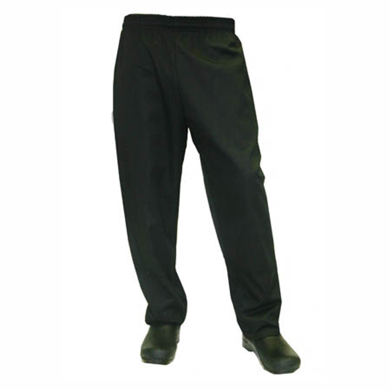 Classic Chef Pants in 100% Black Cotton Twill