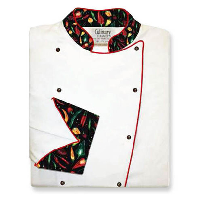 Women's Traditional Coat in White Twill with Peco Peppers Black