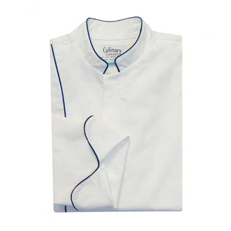 Vanguard Chef Coat in White Poplin with Deep Royal Cording