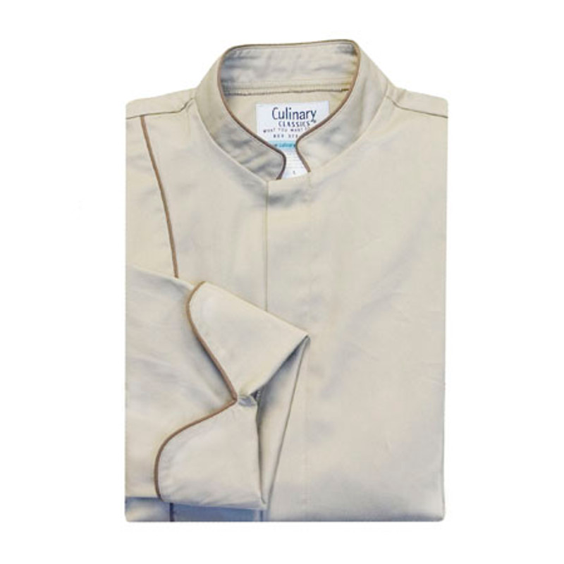 Vanguard Chef Coat in Stone with Taupe Cording