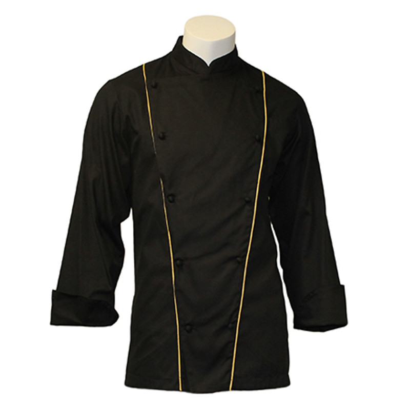 Corded Chef Coat in Black with Antique Cording