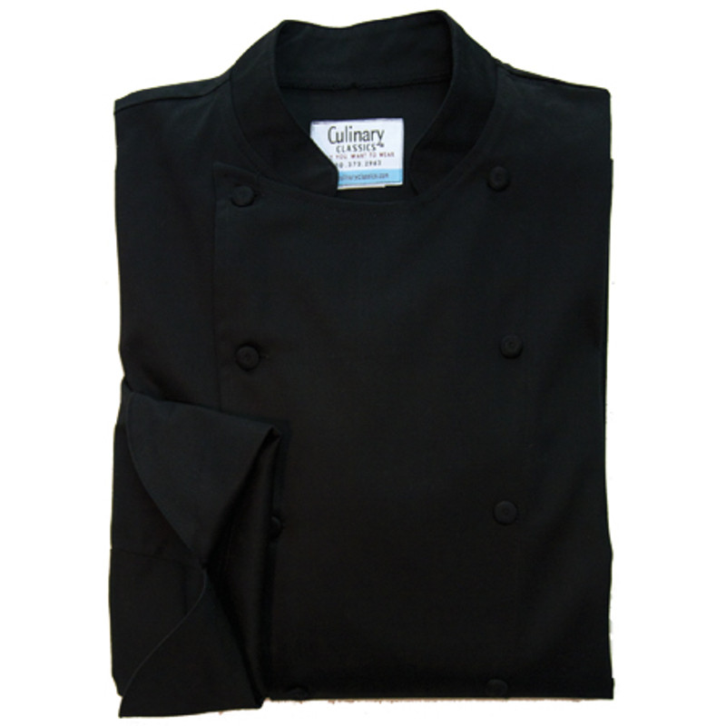 Traditional Chef Coat in Black 100% Egyptian Cotton