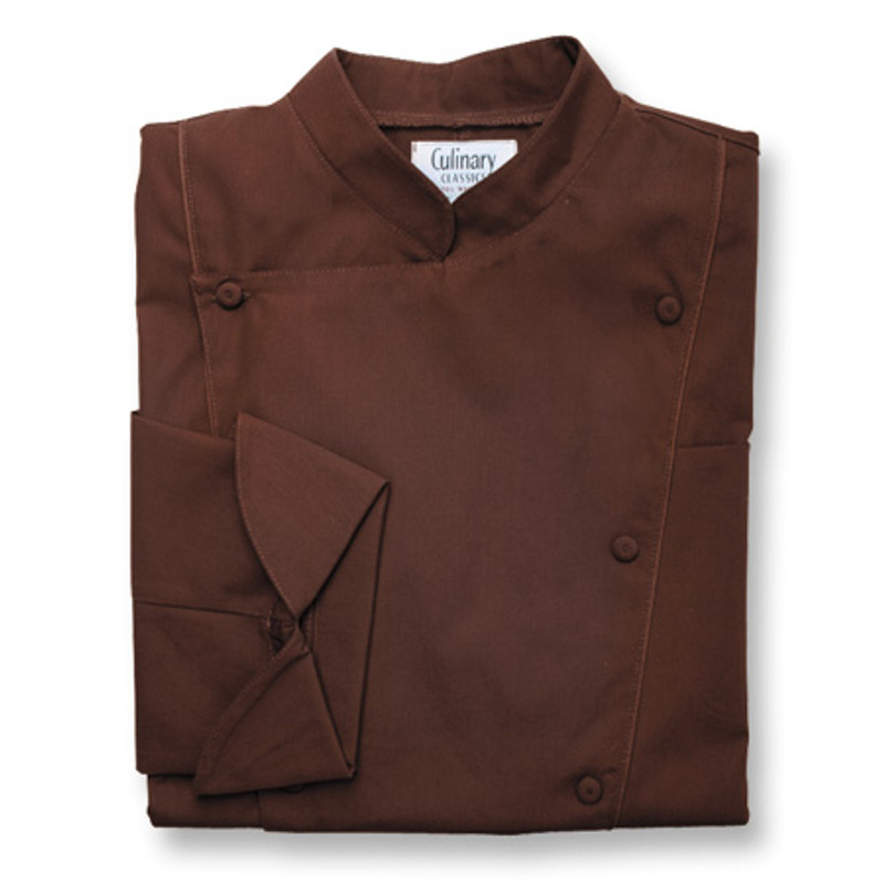 Corded Chef Coat in Chocolate Poplin with Mahogany Cording