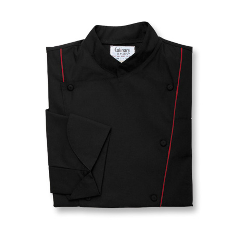 Corded Chef Coat in Black Poplin with Ruby Cording