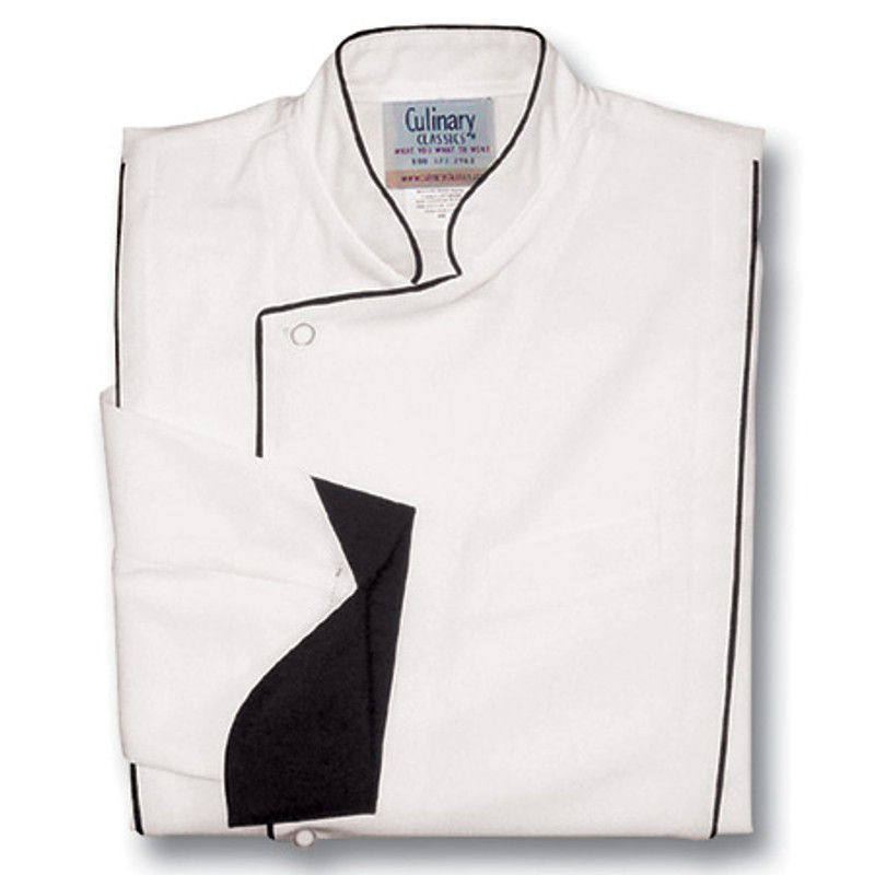 Milan Chef Coat in White Poplin with Black Accents
