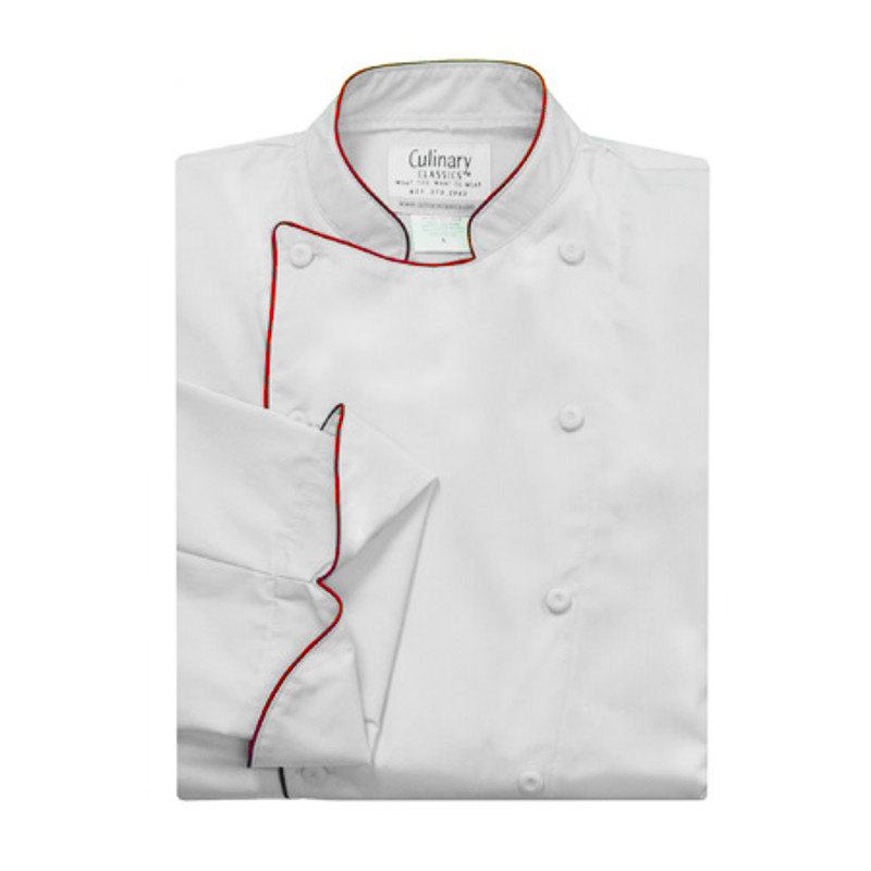 Traditional Chef Coat in White Organic Cotton with Cording