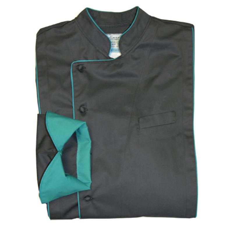 Milan Chef Coat in Charcoal Organic Cotton with Teal Accents
