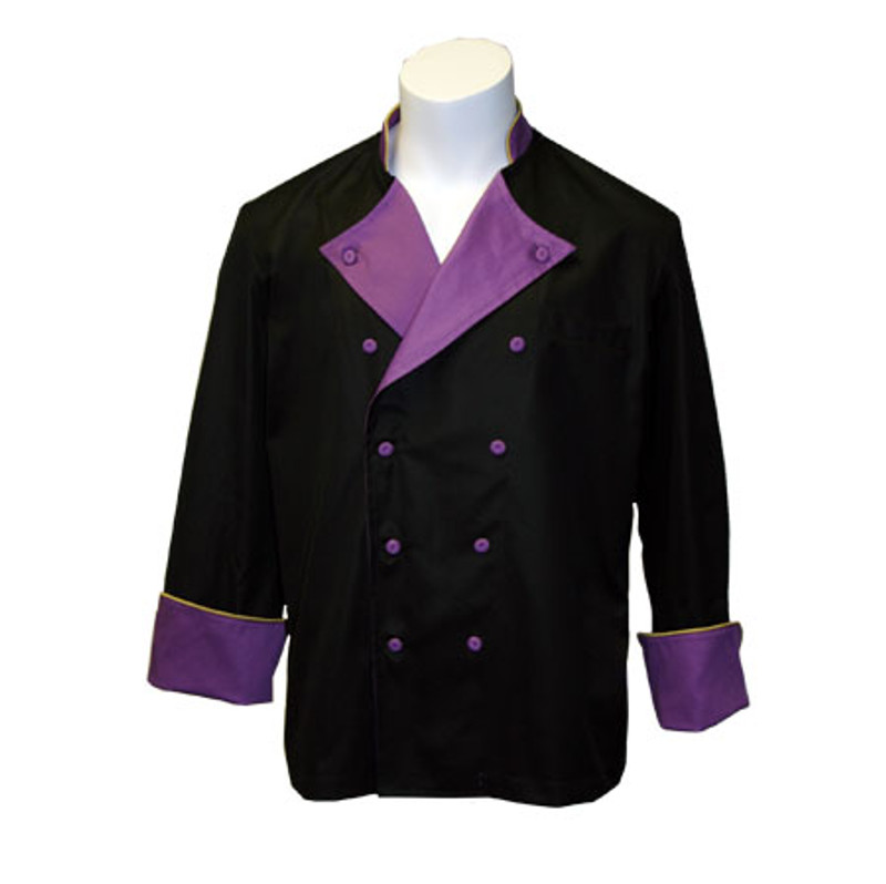 Lucca Chef Coat in Black 100% Egyptian Cotton with Violet and Gold Accents