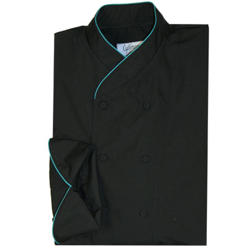 Imperial Chef Coat in Black Poplin with Teal Cording