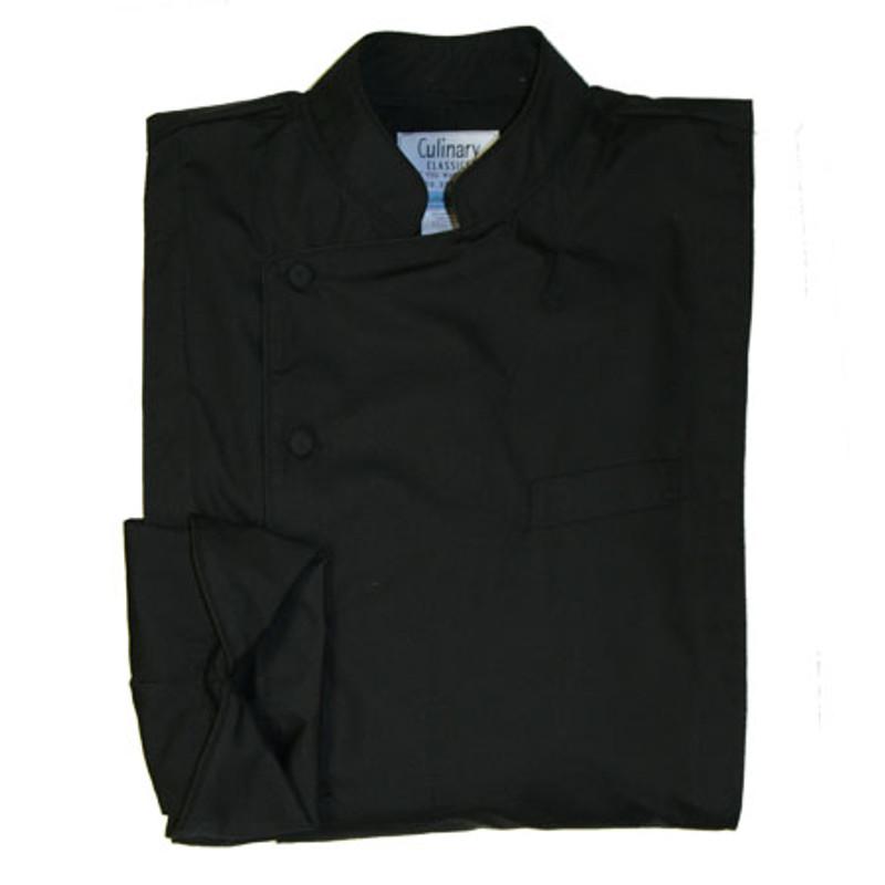 Milan Chef Coat in Black Maxima Poplin with Black Cording