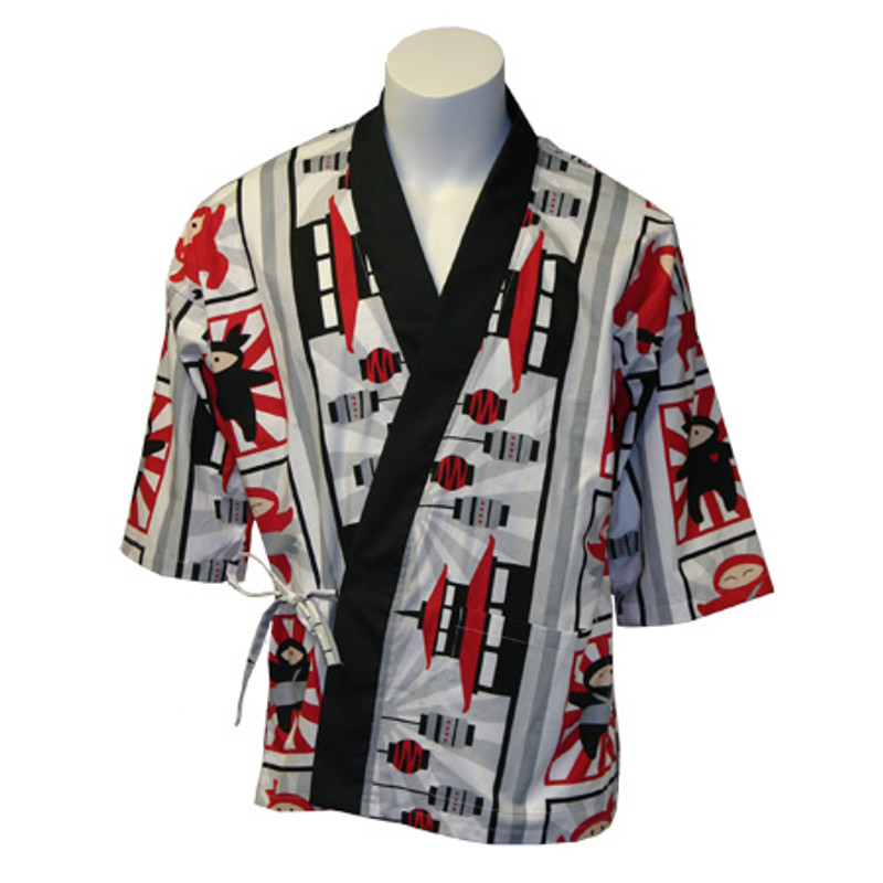 Sushi Chef Coat in I Am Ninja 100% Cotton with Black Trim