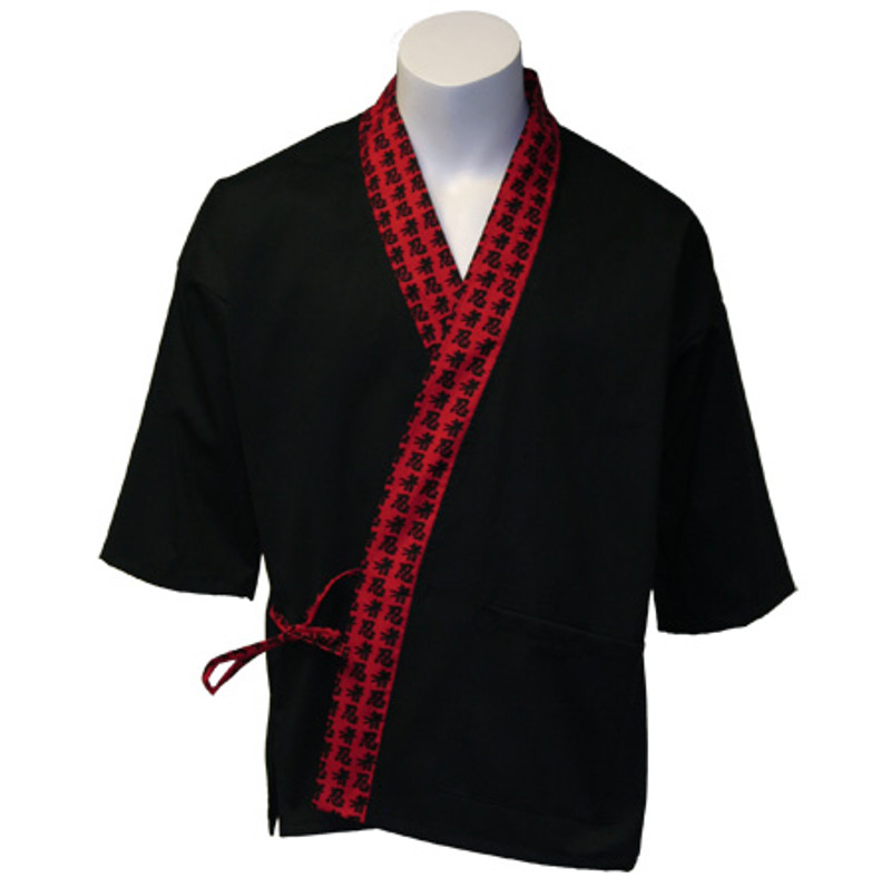 Sushi Chef Coat in Black Cotton Twill with Red Japanese Characters Trim