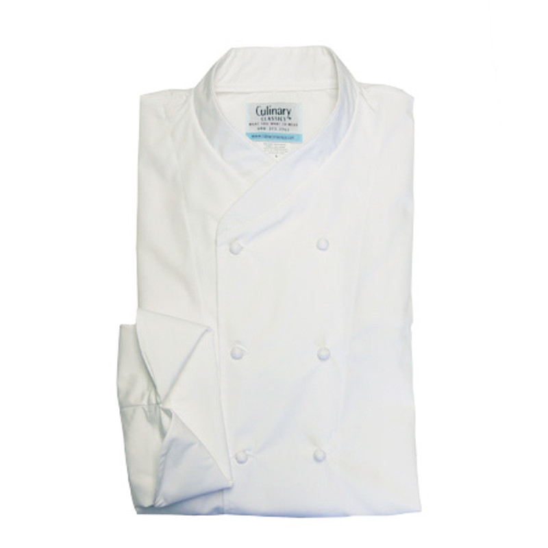 Imperial Chef Coat in White Poplin with Hand-Rolled Buttons
